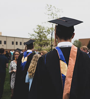 Graduates in their caps and gowns