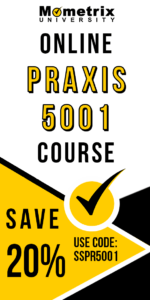 Ad for the Mometrix University online Praxis 5001 prep course