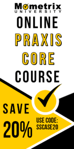 Ad for the Mometrix Praxis Core online course